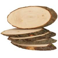 Baumscheiben Rindenscheiben 5 Stück ca. 23 - 26 cm lang, Naturholzscheiben