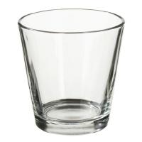 Teelichtglas farblos rund, ca. 4,5 x 6,6 cm