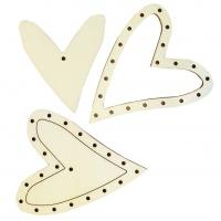 Flechtmotiv schiefes Herz 1 Stück, 10 cm, 4 mm dick, Sperrholz