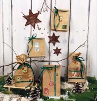 Adventskalender Weihnachten, Set zum Befüllen 24 Papiertüten mit Weihnachtszahlen
