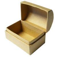 Schatztruhe aus brauner Pappe, 8 x 5,5 x 5,5 cm