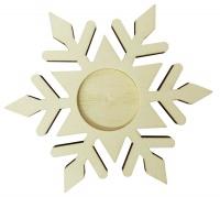 Teelichthalter Schneeflocke aus Holz, Ø 12,5 cm, 8 mm dick